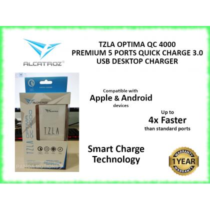 Alcatroz Tzla Optima QC4000 Premium 5 Ports Quick Charge 3.0 Charger IOS Android