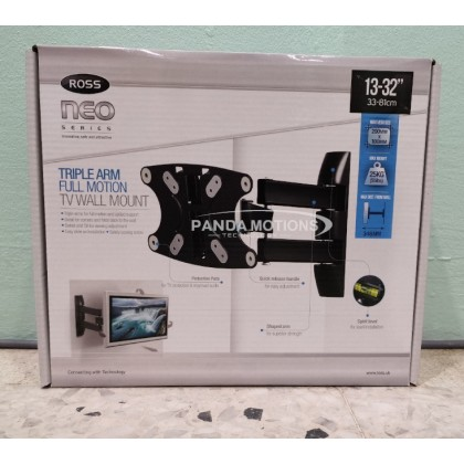 "Ross LNTA120-RO 13-32"" Triple Arm Full Motion TV Mount Bracket"